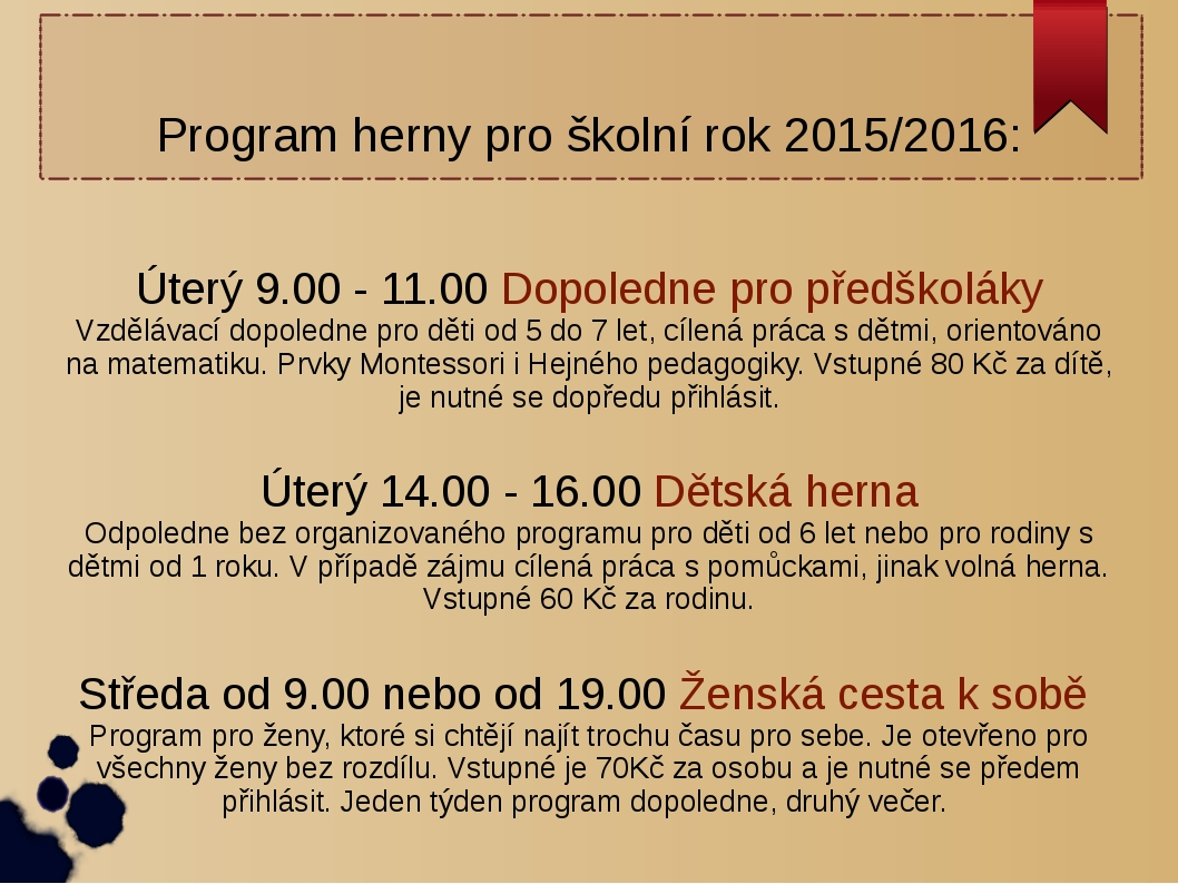 Program herny v Jindřichovicích pod Smrkem