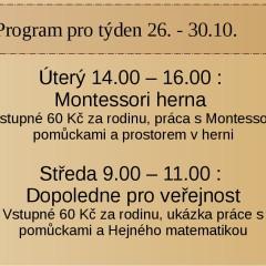 Program v herni v týdnu od 26.10.