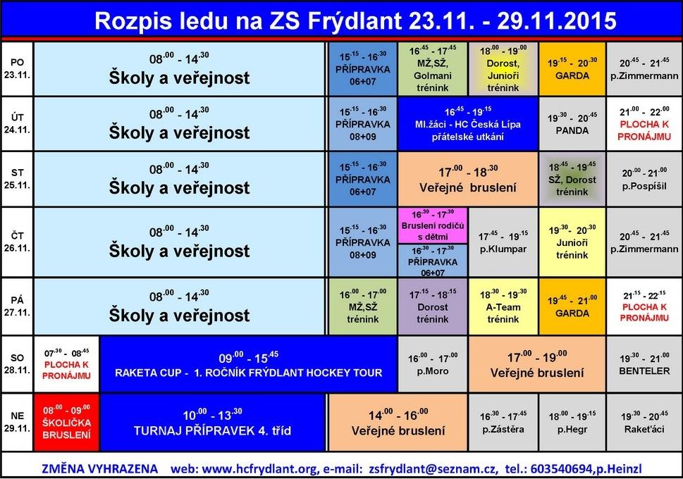 Rozpis ledu na ZS Frýdlant od 23. listopadu do 29. listopadu 2015