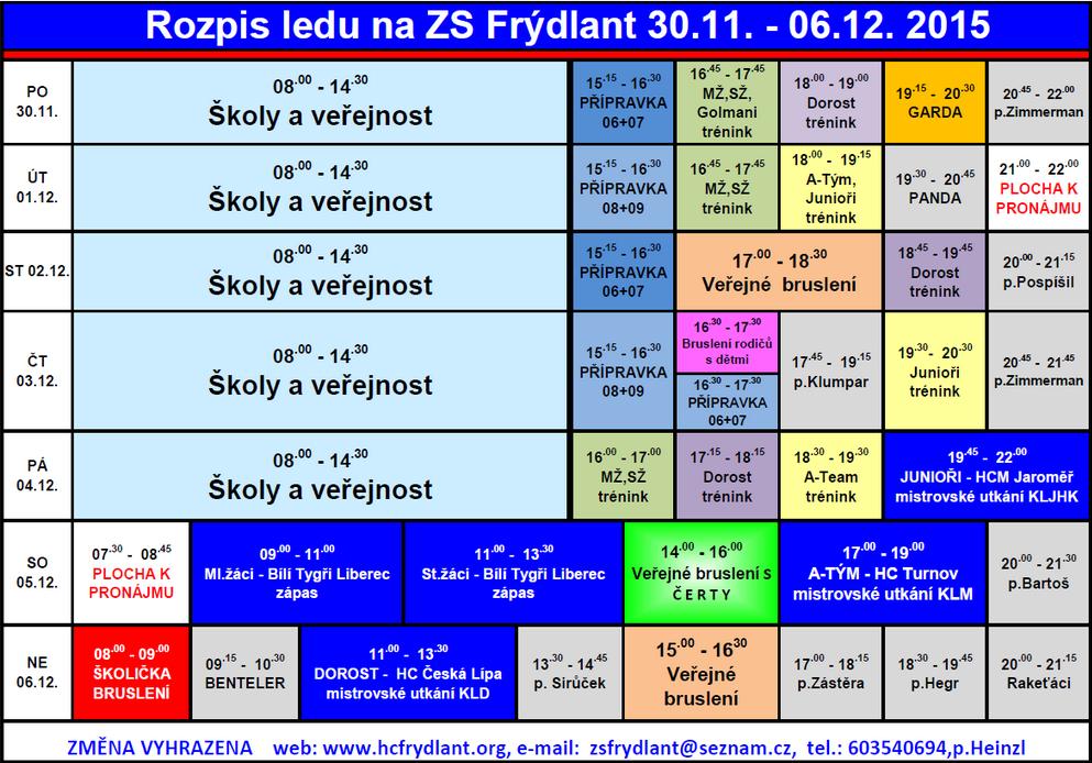 Rozpis ledu na ZS Frýdlant od 30. listopadu do 6. prosince