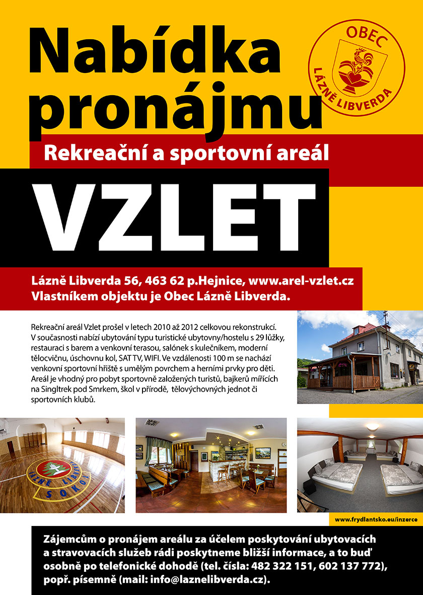 Nabídka pronájmu rekreačního a sportovního areálu VZLET v Lázních Libverda