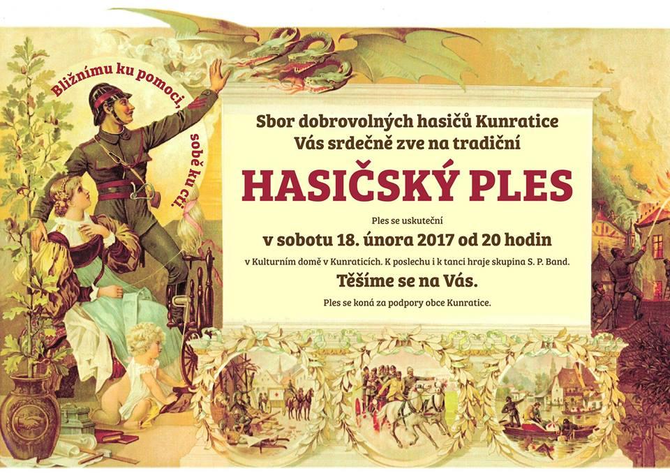 Pozvánka na Hasičský ples do Kunratic