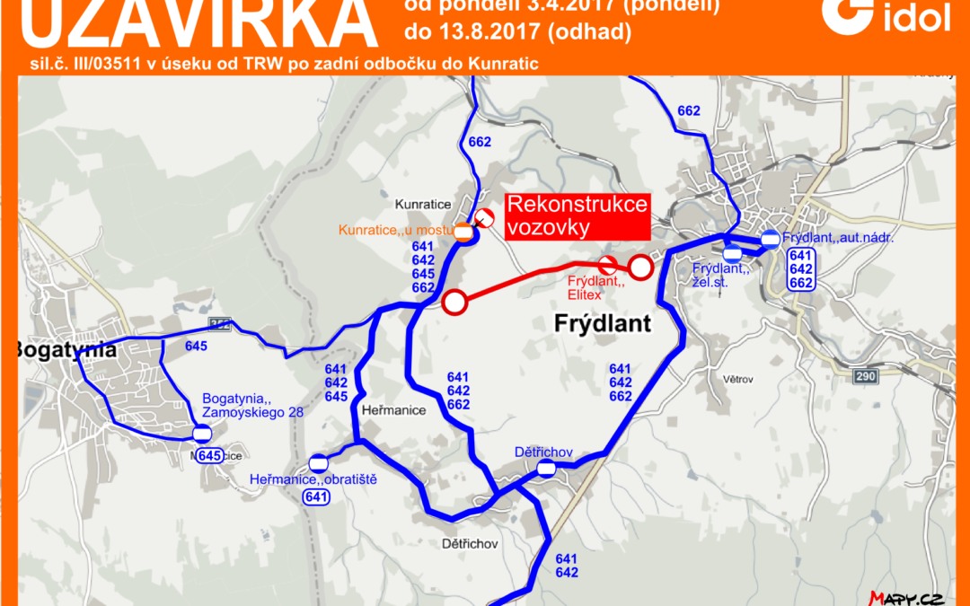 Uzavírka Frýdlant – Kunratice (3. 4.-13. 8. 2017)