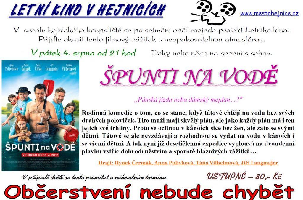 Letní kino Hejnice zve na film Špunti na vodě