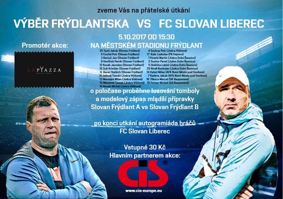 Pozvánka na fotbalové utkání Výběr Frýdlantska vs FC Slovan Liberec