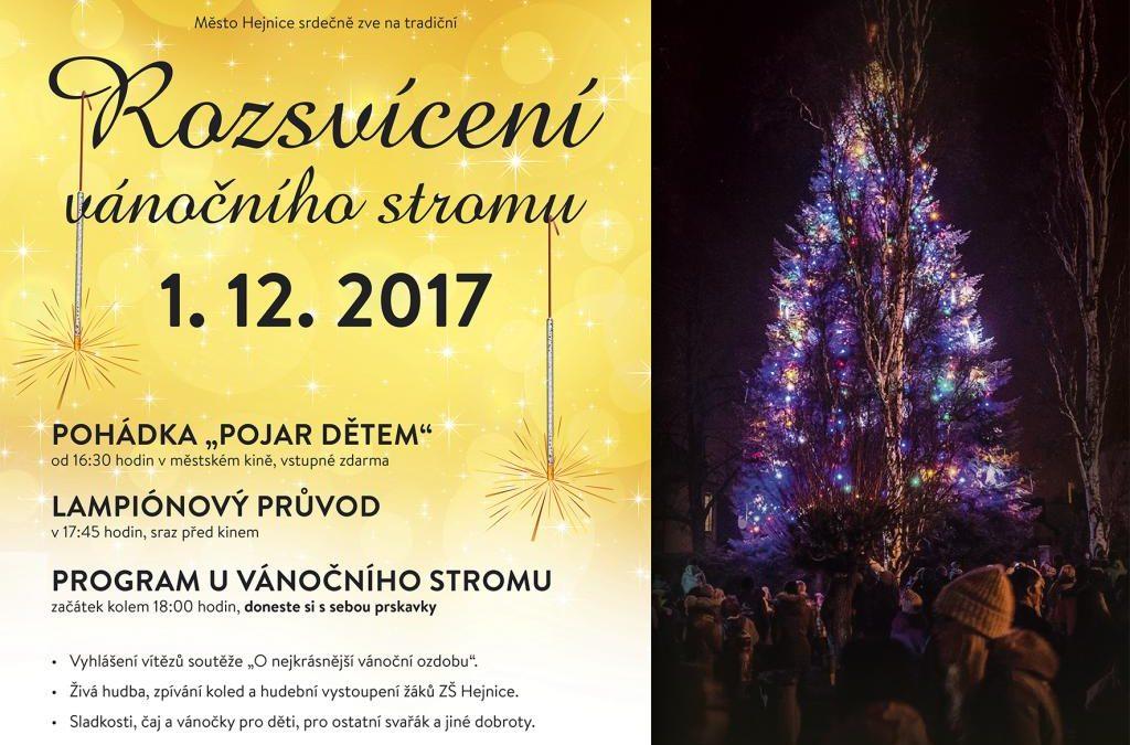 V pátek budou Hejnice rozsvěcet vánoční strom