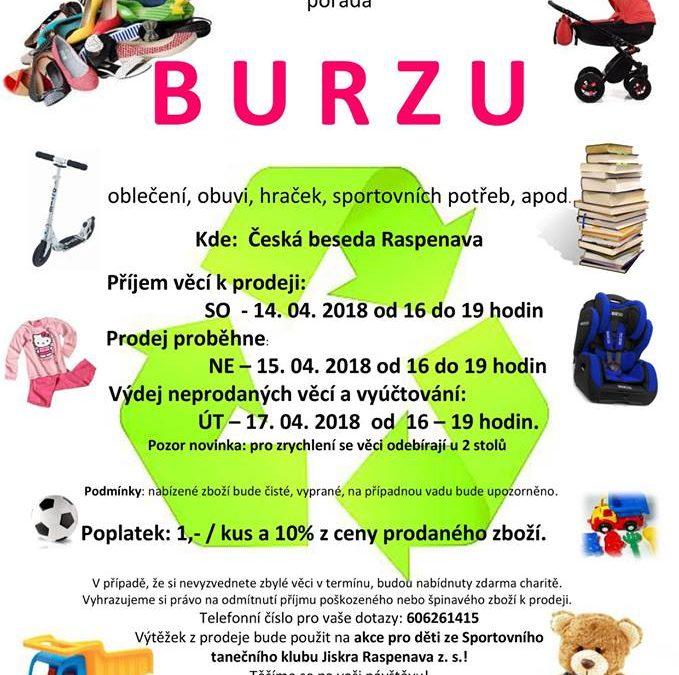 BURZA oblečení, obuvi, hraček, sportovních potřeb…