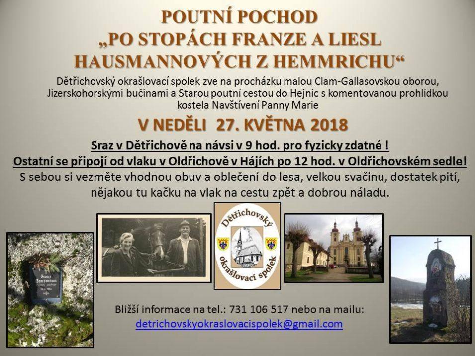 """Poutní pochod """"Po stopách Frane a Liesl Hausmannových z Hemmrichu"""""""