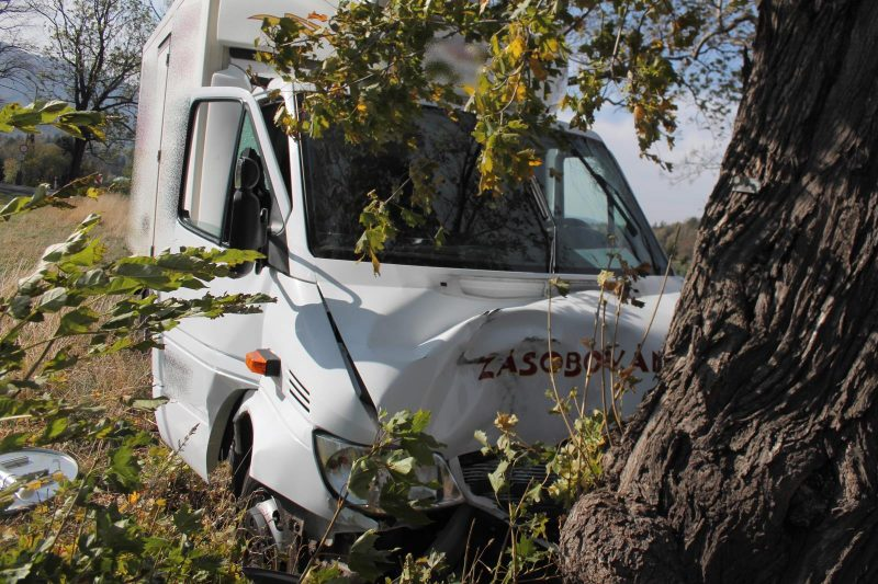 Chladící vůz narazil do stromu