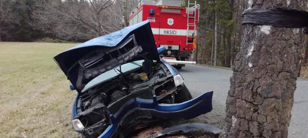 FOTO: Auto u Frýdlantu narazilo do stromu. Zraněný řidič skončil v nemocnici