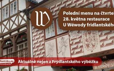 Polední menu na čtvrtek 28. května restaurace U Wéwody fridlantského ve Frýdlantu