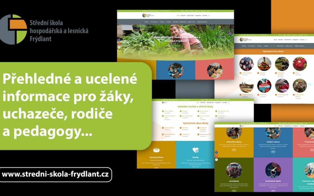 Přehledné a obsáhle informující… To jsou nové webové stránky Střední školy hospodářské a lesnické Frýdlant
