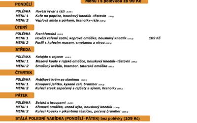 Polední menu na týden 14. až 18. prosince 2020 restaurace Dělňák v Novém Městě pod Smrkem