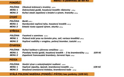 Polední menu na týden 7. až 11. prosince 2020 restaurace Dělňák v Novém Městě pod Smrkem